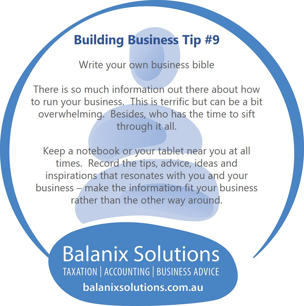 Write your own business bible-bulding business tip #9